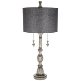Gray Wash Lamp with Woven Shade